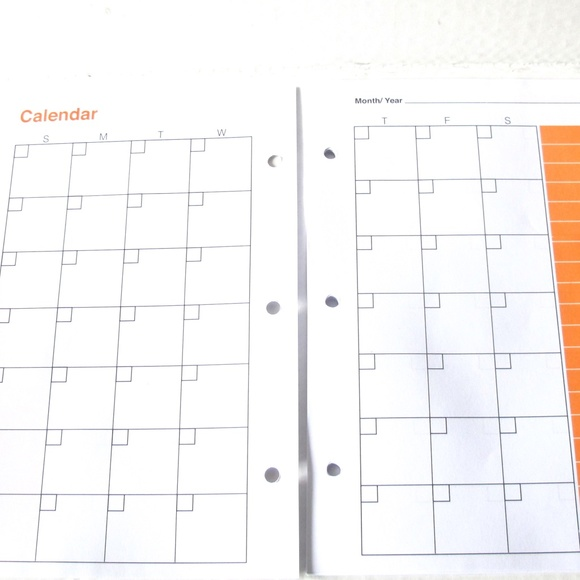 Mini Binder Undated Monthly Calendar Refills